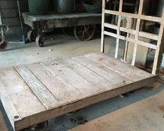 Vintage Railroad/Industrial Cart w/ metal casters