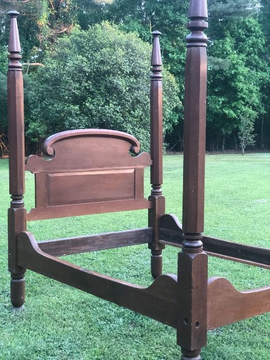 Lower Mississippi Valley 4 Post Tester Bed.  Estate Condition.  Rolling Pin Headboard.  Headboard has crack.  $800.
