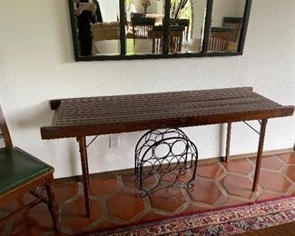 Slat top folding table - great for an entry or service table