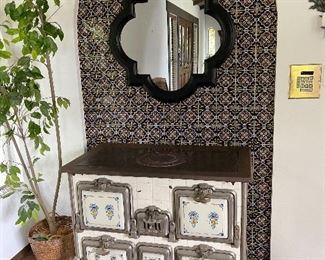 Belgium Haren enameled antique stove