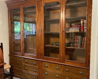 """A stunning antique mercantile 4-door cabinet atop 12 drawers - probably was in a c1900 department store or general store, measures 94""""h x 100""""h x 15-5/8""""d"""