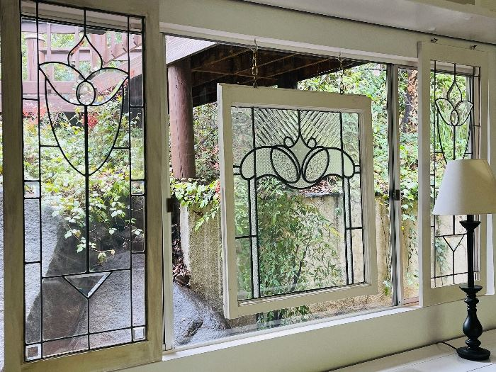 """Side leaded glass panels are 19-3/4""""w 48-1/2""""h"""