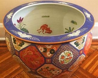 Vintage Large Japanese  Imari Fishbowl Planter (Two Available) Sold Individually