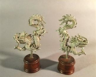 Pair of Pewter Dragons on Stands