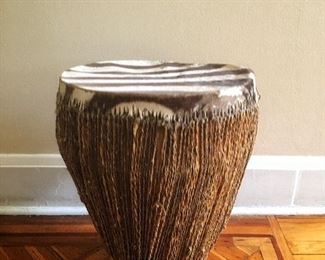 Vintage Zebra Hide African Drum