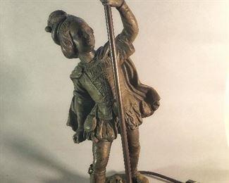Vintage Bronze Figural Table Lamp