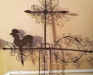 Antique Folk Art Wrought Iron Rooster Weathervane