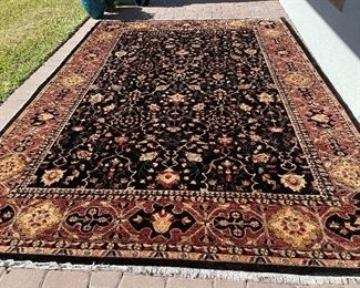 Chobi handknotted, handmade 10 x 13 wool rug like new retail $4500 selling for $1700. Black base - rare to find color!