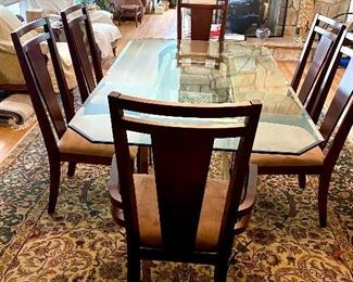 Beautiful Glass Top Dining Table + 6 Chairs ~~~ Thomasville