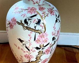 Beautiful Chinese Prunus Bird Vase signed on bottom along with a Poem on back.