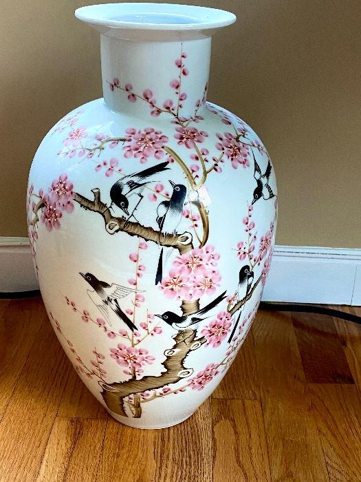 Beautiful Chinese Prunus Bird Vase signed on bottom along with a Poem on back.