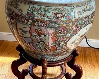 Chinese Large Jardiniere  / Fish Bowl Famille Rose Signed on Bottom