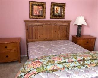 Pine headboard and two pine nightstands - bed is Queen
