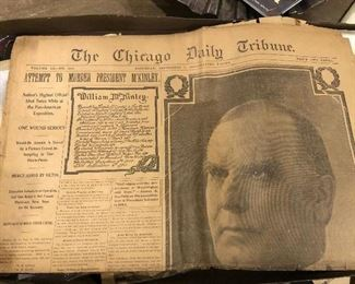 Chicago Daily Tribune Newspaper dated 1901 McKinley assassination attempt