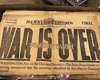 November 11, 1918 WWI newspaper Chicago Herald