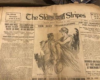 Stars and Stripes newspaper dated Nov. 22, 1918 - founded by Gen John Pershing for the American Expeditionary Forces in France during WWI. Orig? 1920 copy?