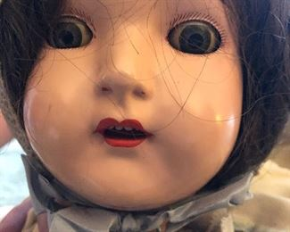 """antique Effanbee all composite doll with jointed limbs, original hair and open mouth/teeth 28"""" - marked on back of neck"""