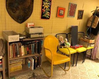 Yellow garden chair and retro kitchen chairs