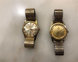 Vintage 1950-60s Omega Constellation Men's watch Cal 561  and vintage Universal Geneve Polerouter watch Cal 138 - both running & authentic