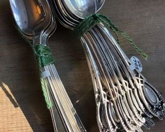 vintage sterling silver spoon sets - Etruscan 120g and RLB Silver 170g