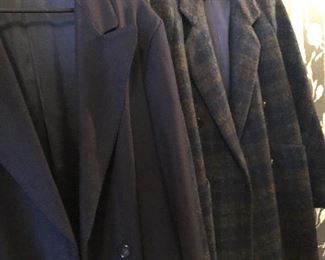 Burberry vintage plaid wool coat and solid navy blue overcoat.