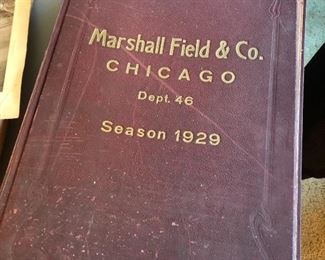 """1929 HUGE Marshall Field & Co. Chicago scrapbook- filled with newspaper clippings about military & aviation - measures 24""""h x 16""""w"""