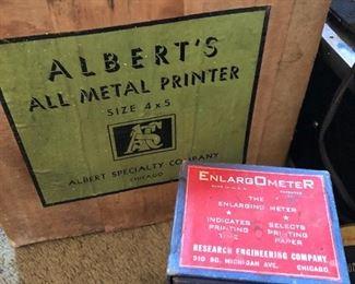 1940s & 1950s photo printer, enlarging meter and  8 mm reels