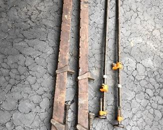 Antique Orr & Lockett wood clamps and Vintage Pony metal clamps