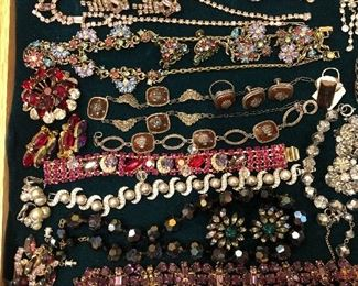 Kramer rhinestone cha-cha bracelet, antique sterling marcasite & carnelian 5pc set, Crown Trifari pearl & rhinestone 3 pc set, Swarovski, aurora borealis, etc