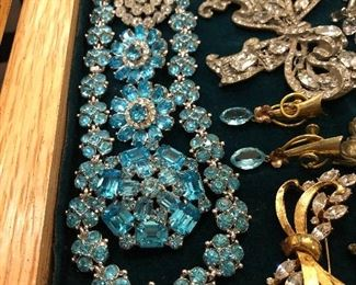 stunning Bogoff blue 3 pc rhinestone set
