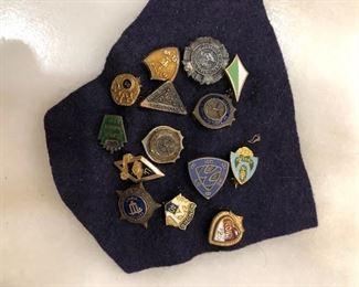 Sterling & GF vintage typewriter award pins from 1920-30s