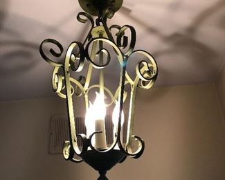 vintage ceiling light green metal