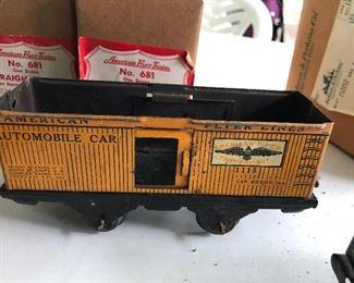 vintage American Flyer train cars & tracks