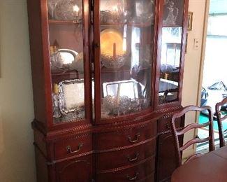 vintage 1960s  Morganton Mahogany china cabinet