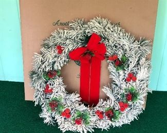 """BIG! vintage frosted Christmas wreath with plastic flowers - stored in a box and in great shape - 24""""?"""