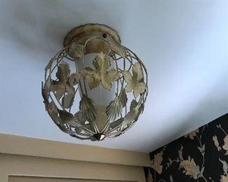 vintage metal leaf ceiling light