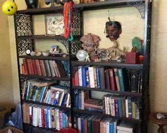 funky plastic and metal bookshelf