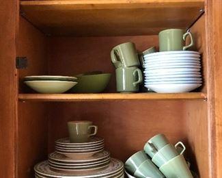 retro green and white plates & mugs