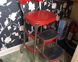 cute vintage kitchen red stool