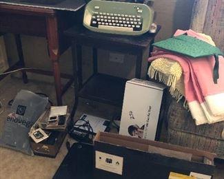 typewriter table green typewriter, sewing cabinet, hp laptop, etc.