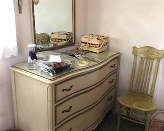 vintage Drexel Touraine French Provincial 3 drawer dresser & mirror
