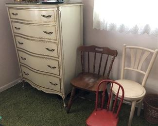 vintage Drexel Touraine French Provincial dresser and vintage chairs
