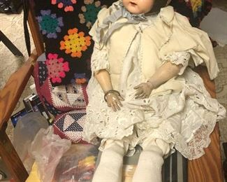 """antique Effanbee all composite doll with jointed limbs, original hair and open mouth/teeth - 28"""""""