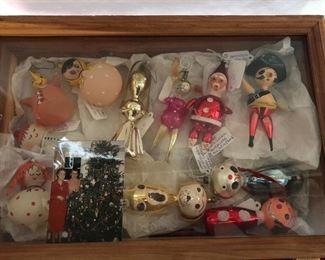 vintage Christmas glass figural ornaments