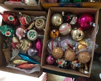 vintage glass Christmas ornaments - indents, balls, drops