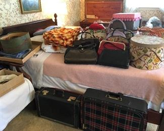 vintage handbags, hat boxes, luggage