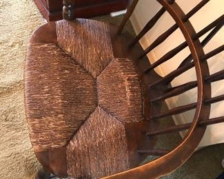 antique Nichols & Stone fiddleback Windsor chair with rush seat c. 1920
