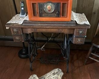 antique singer sewing machine, repro stereo cd player, beachwood art dog