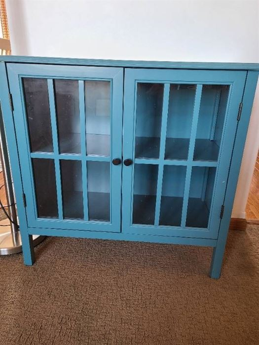 Teal storage Cabinet with glass doors 31 X 14 X 32