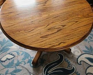 Oak pedestal table 42 x 30 with two 21 inch leaves by Great Oak Products U.S.A.